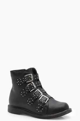 boohoo India Wide Fit Studded Strap Ankle Boot