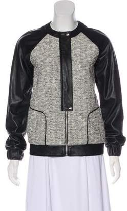 Rebecca Minkoff Leather-Trimmed Tweed Jacket