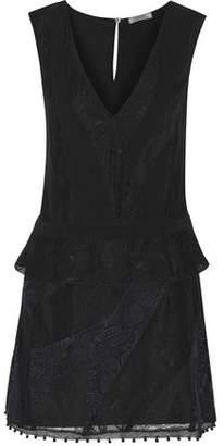 Nina Ricci Lace-Paneled Silk Crepe De Chine Dress