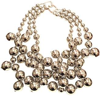 Kenneth Jay Lane 3 ROW SILVER BEADS NECKLACE