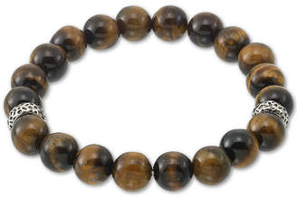 Legacy for Men by Simone I. Smith Tiger Eye (10mm) Stretch Bracelet in Stainless Steel