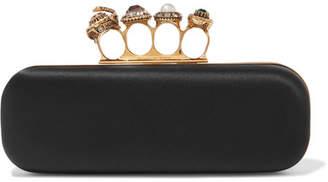 Alexander McQueen Knuckle Embellished Satin Clutch - Black