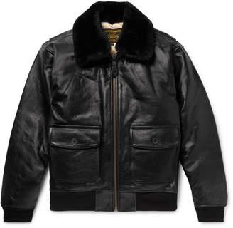 Schott G-1 Shearling-Trimmed Leather Bomber Jacket