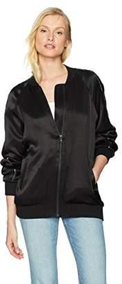 Michael Stars Women's Satin Long Sleeve Oversized Bomber Jacket