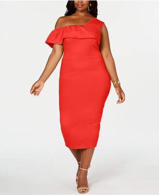 Rebdolls One Shoulder Ruffles Bodycon Midi Dress By The Workshop at Macy, Regular & Plus Sizes