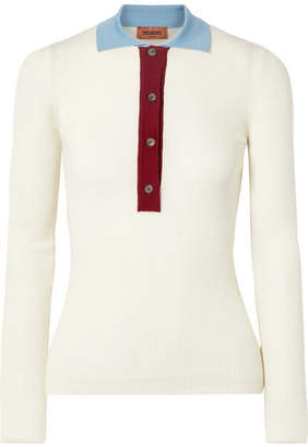 Missoni Ribbed Wool Polo Shirt - Ivory