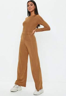 Missguided Rust Shiny Ribbed Wide Leg Pants