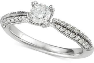 Marchesa Diamond Milgrain Engagement Ring (7/8 ct. t.w.) in 18k White Gold