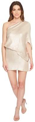 Halston One Shoulder Jacquard Sleeve Dress Women's Dress