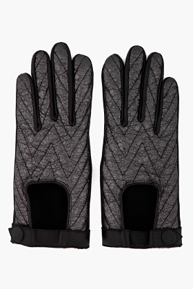 RAG & BONE Black Chevron Quilted Driving Gloves