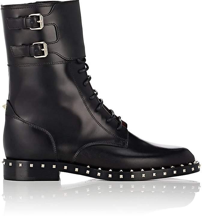 Valentino Garavani Women's Rockstud Leather Combat Boots