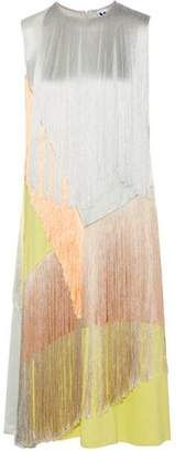 M Missoni Fringed Color-Block Satin-Crepe Midi Dress