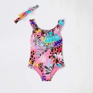 e9b1e7d8a489d River Island Mini girls Pink floral frill swimsuit set