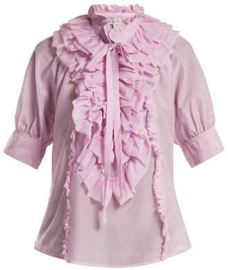 Lee Mathews - Eva Ruffled Cotton And Silk Blend Blouse - Womens - Light Pink