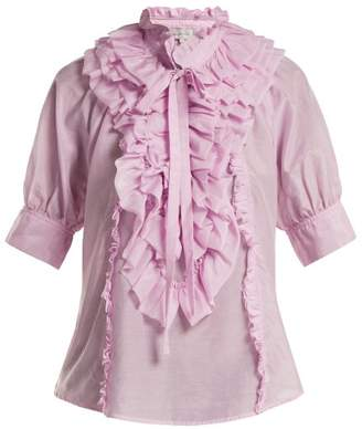 4b6e022cc3db Lee Mathews - Eva Ruffled Cotton And Silk Blend Blouse - Womens - Light Pink