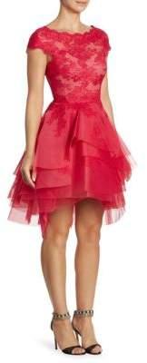 Monique Lhuillier Lace Tiered Dress