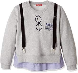 Angel Heart (エンジェル ハート) - [エンジェルハート] フェイクサス付きトレーナー AIG808 ガールズ グレー 日本 160cm-(日本サイズ160 相当)