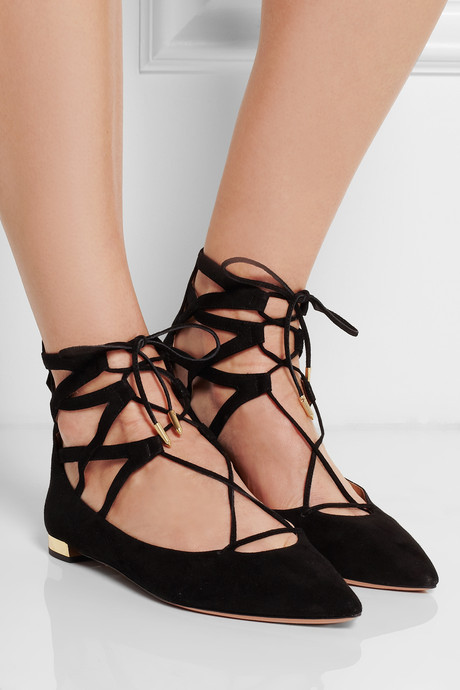 Aquazzura Belgravia lace-up suede point-toe flats