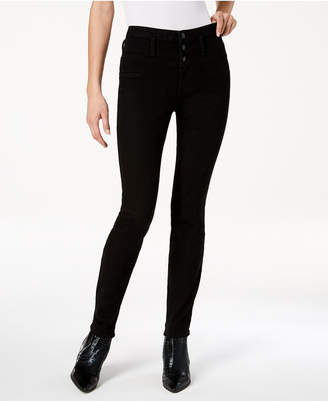 Black Daisy Juniors' Blake Stacked-Waist Skinny Jeans