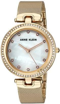 Anne Klein Women's AK/2972MPGB Swarovski Crystal Accented -Tone Mesh Bracelet Watch
