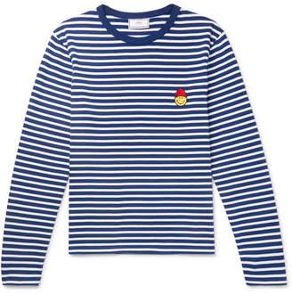 Ami + The Smiley Company Appliquéd Striped Cotton T-Shirt
