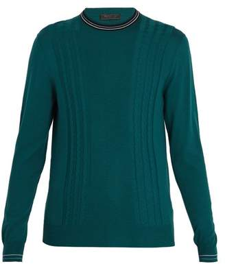 Prada Cable Knit Wool Sweater - Mens - Green
