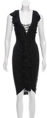 Just Cavalli Ruffled Bodycon Dress w/ Tags