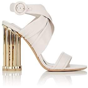 Salvatore Ferragamo Women's Caged-Heel Leather Sandals-White
