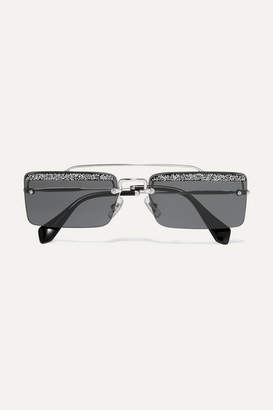 Miu Miu Crystal-embellished Square-frame Silver-tone And Acetate Sunglasses - Dark gray