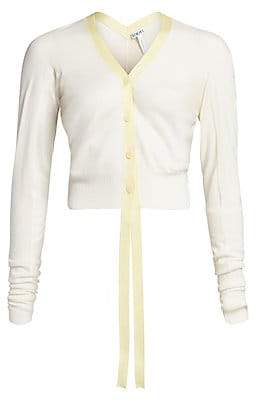 Loewe Women's Wool Leather Trimmed Cropped Cardigan