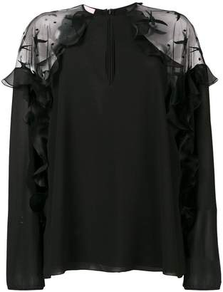 Giamba sheer shoulders blouse