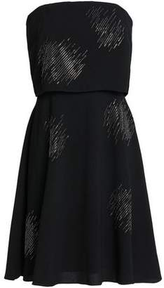 Halston Strapless Crystal-Embellished Crepe Dress