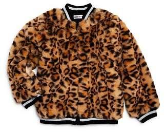 Mini Series Girls' Faux-Fur Leopard-Print Bomber Jacket, Little Kid - 100% Exclusive