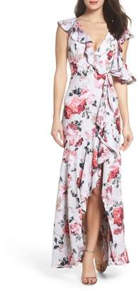 Fame & Partners Beckman Floral Georgette Ruffle Maxi Dress