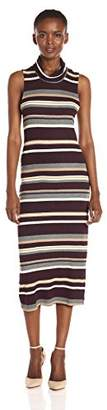 Michael Stars Women's Variegated Stripe Sleeveless Cowl Neck Midi Dress
