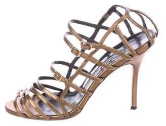 Manolo Blahnik Metallic Caged Sandals