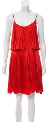 Halston Pleat Accented Silk Dress