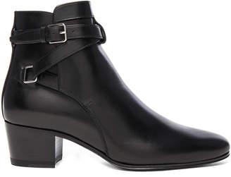Saint Laurent Leather Blake Buckle Boots