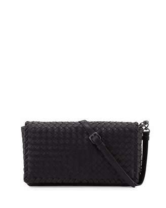 Bottega Veneta Small Intrecciato Flap Clutch Bag w/Strap, Black $1,950 thestylecure.com