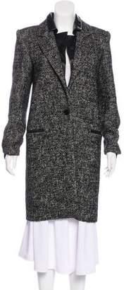Barbara Bui Leather-Trimmed Tweed Coat