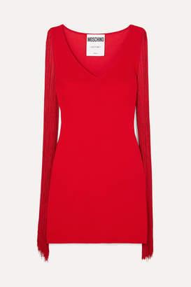 Moschino Fringed Stretch-jersey Mini Dress - Red