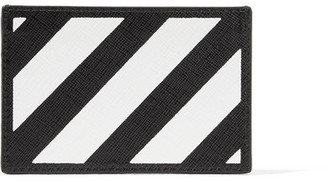 Off-White - Striped Textured-leather Cardholder - Black $205 thestylecure.com
