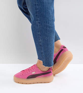 Puma Trace Platform Sneakers In Pink And Black