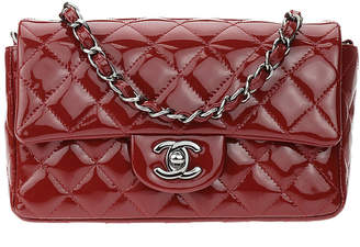 Chanel Burgundy Red Patent Leather Mini Flap Bag
