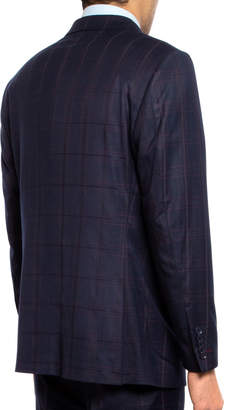 English Laundry Men's Slim-Fit Plaid Twill Two-Piece Suit, Blue/Red