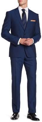 Vince Camuto Blue Solid Two Button Notch Lapel Wool Trim Fit Suit