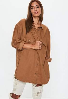 Missguided Denim Camel Boyfriend Fit Oversized Shirt