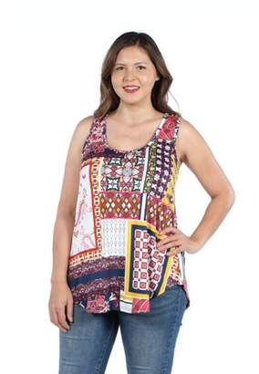 24/7 Comfort Apparel Women's Plus Size Round Hemline Sleeveless Plus Size Tunic Top