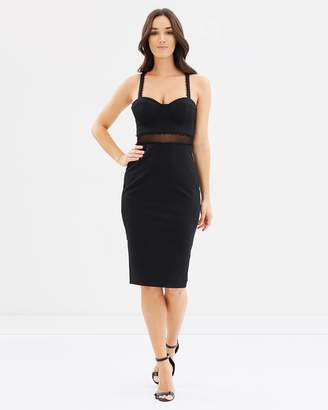 Sheer Waist Bust Cup Body-Con Dress
