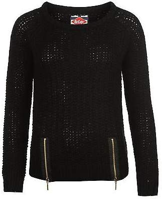 Lee Cooper Womens Zip Hem Knit Ribbed Pullover Long Sleeve Crew Neck Top